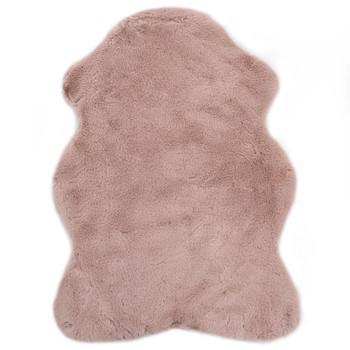 vidaXL Tepih od umjetnog zečjeg krzna 65 x 95 cm blijedo ružičasti