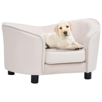 vidaXL Sofa za pse krem 69 x 49 x 40 cm od pliša i umjetne kože