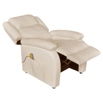 vidaXL Masažna fotelja od umjetne kože krem bijela