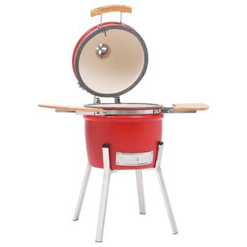 vidaXL Kamado roštilj i pušnica keramički 81 cm