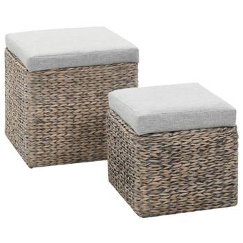 vidaXL 2-dijelni set taburea od morske trave sivi