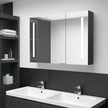 vidaXL LED kupaonski ormarić s ogledalom 89 x 14 x 62 cm sjajni crni