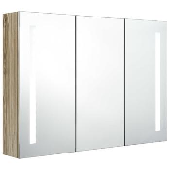 vidaXL LED kupaonski ormarić s ogledalom 89 x 14 x 62 cm boja hrasta