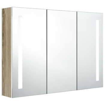 vidaXL LED kupaonski ormarić s ogledalom 89 x 14 x 62 cm bijeli/hrast