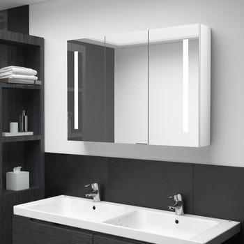 vidaXL LED kupaonski ormarić s ogledalom 89 x 14 x 62 cm sjajni bijeli