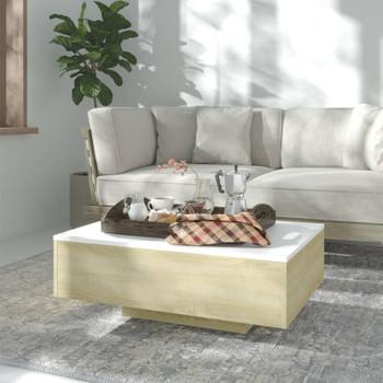 vidaXL Stolić za kavu bijeli i boja hrasta 85 x 55 x 31 cm od iverice