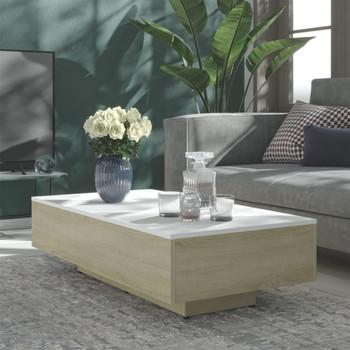 vidaXL Stolić za kavu bijeli i boja hrasta 115 x 60 x 31 cm od iverice