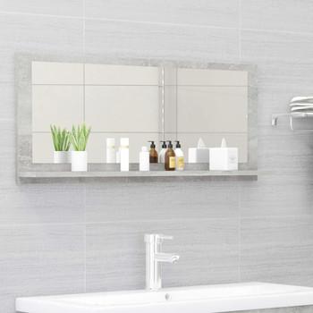 vidaXL Kupaonsko ogledalo siva boja betona 90 x 10,5 x 37 cm iverica