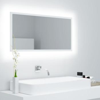 vidaXL LED kupaonsko ogledalo bijelo 90 x 8,5 x 37 cm iverica