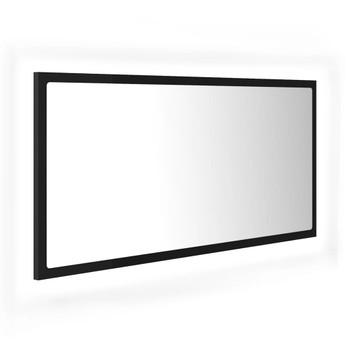 vidaXL LED kupaonsko ogledalo crno 90 x 8,5 x 37 cm od iverice