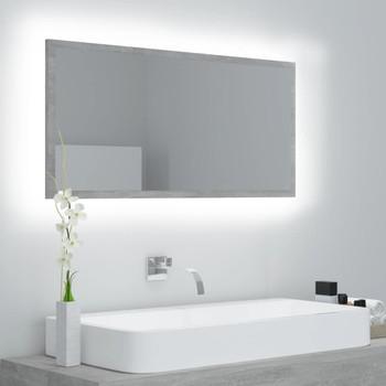 vidaXL LED kupaonsko ogledalo siva boja betona 90x8,5x37 cm od iverice