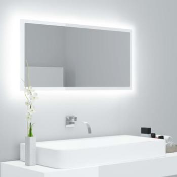 vidaXL LED kupaonsko ogledalo visoki sjaj bijelo 90x8,5x37 cm iverica