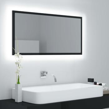 vidaXL LED kupaonsko ogledalo visoki sjaj crno 90x8,5x37 cm od iverice