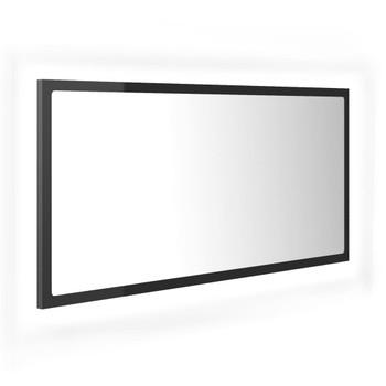 vidaXL LED kupaonsko ogledalo visoki sjaj sivo 90x8,5x37 cm od iverice