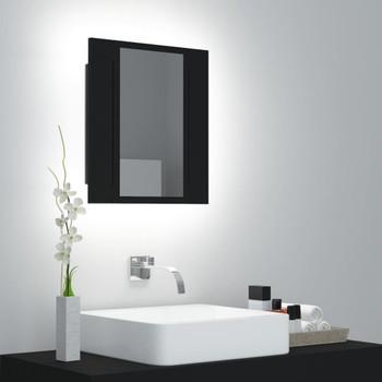 vidaXL LED kupaonski ormarić s ogledalom crni 40 x 12 x 45 cm