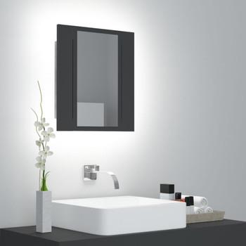 vidaXL LED kupaonski ormarić s ogledalom sivi 40 x 12 x 45 cm