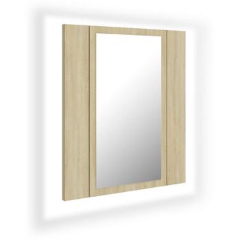 vidaXL LED kupaonski ormarić s ogledalom boja hrasta 40 x 12 x 45 cm