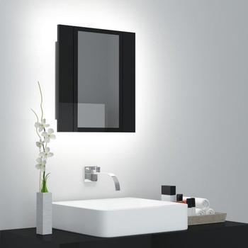 vidaXL LED kupaonski ormarić s ogledalom visoki sjaj crni 40x12x45 cm