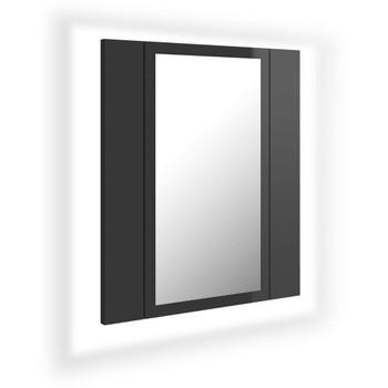 vidaXL LED kupaonski ormarić s ogledalom sjajni sivi 40 x 12 x 45 cm