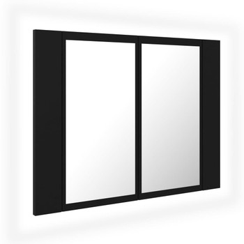 vidaXL LED kupaonski ormarić s ogledalom crni 60 x 12 x 45 cm