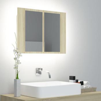 vidaXL LED kupaonski ormarić s ogledalom boja hrasta 60 x 12 x 45 cm