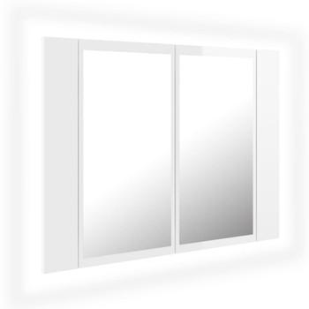 vidaXL LED kupaonski ormarić s ogledalom sjajni bijeli 60 x 12 x 45 cm