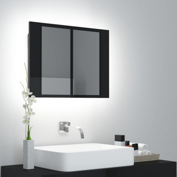 vidaXL LED kupaonski ormarić s ogledalom visoki sjaj crni 60x12x45 cm