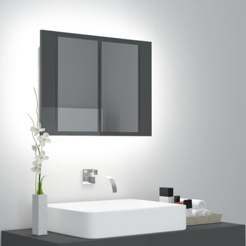 vidaXL LED kupaonski ormarić s ogledalom visoki sjaj sivi 60x12x45 cm
