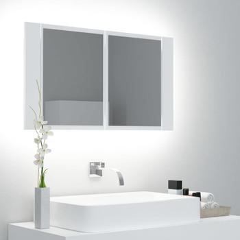 vidaXL LED kupaonski ormarić s ogledalom bijeli 80 x 12 x 45 cm