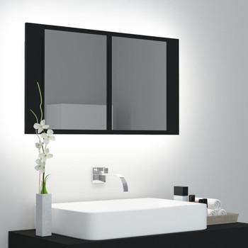 vidaXL LED kupaonski ormarić s ogledalom crni 80 x 12 x 45 cm