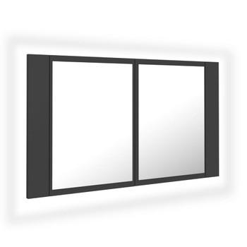 vidaXL LED kupaonski ormarić s ogledalom sivi 80 x 12 x 45 cm