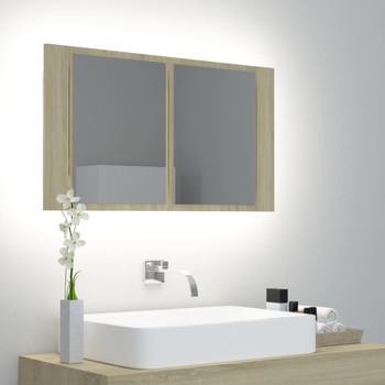 vidaXL LED kupaonski ormarić s ogledalom boje hrasta 80 x 12 x 45 cm
