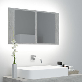 vidaXL LED kupaonski ormarić s ogledalom siva boja betona 80x12x45 cm