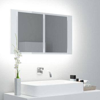 vidaXL LED kupaonski ormarić s ogledalom sjajni bijeli 80 x 12 x 45 cm
