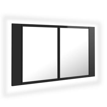 vidaXL LED kupaonski ormarić s ogledalom visoki sjaj crni 80x12x45 cm