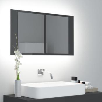 vidaXL LED kupaonski ormarić s ogledalom visoki sjaj sivi 80x12x45 cm