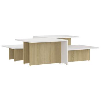 vidaXL Stolići za kavu 2 kom hrast/bijeli 111,5 x 50 x 33 cm iverica