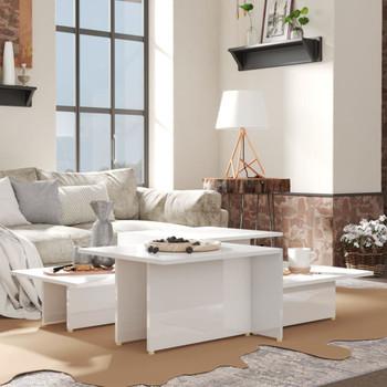 vidaXL Stolići za kavu 2 kom visoki sjaj bijeli 111,5x50x33 cm iverica