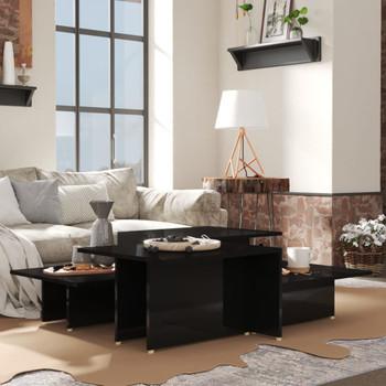 vidaXL Stolići za kavu 2 kom visoki sjaj crni 111,5x50x33 cm iverica