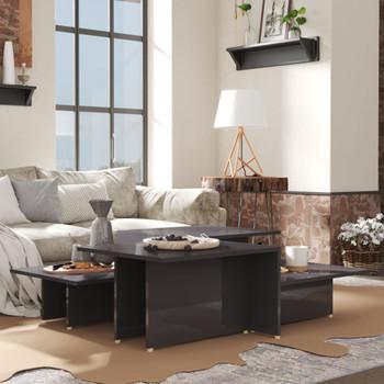 vidaXL Stolići za kavu 2 kom visoki sjaj sivi 111,5x50x33 cm iverica