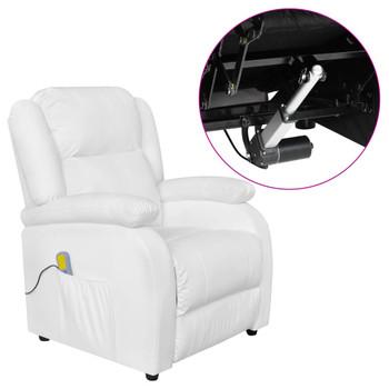 vidaXL Električna masažna fotelja od umjetne kože bijela
