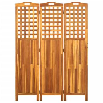 vidaXL Sobna pregrada s 3 panela 121 x 2 x 170 cm masivno drvo bagrema
