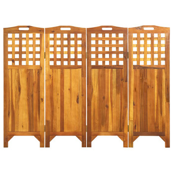 vidaXL Sobna pregrada s 4 panela 161 x 2 x 120 cm masivno drvo bagrema
