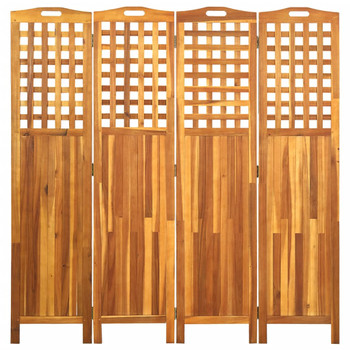 vidaXL Sobna pregrada s 4 panela 161 x 2 x 170 cm masivno drvo bagrema