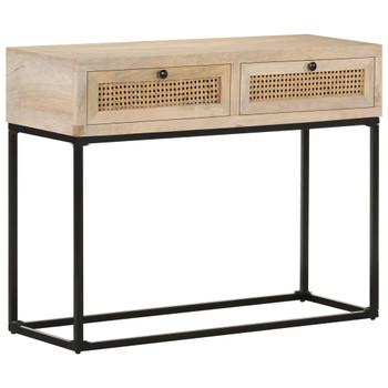 vidaXL Konzolni stol 100x35x76 cm masivno drvo manga i prirodna trska