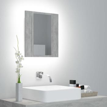 vidaXL LED kupaonski ormarić s ogledalom siva boja betona 40x12x45 cm