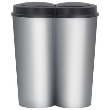 vidaXL Dvostruka kanta za smeće srebrno-crna 50 L