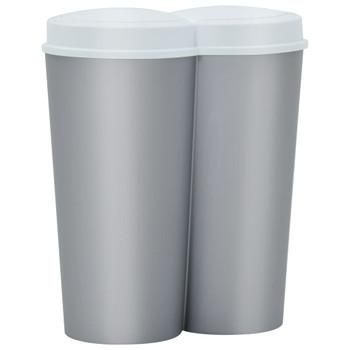 vidaXL Dvostruka kanta za smeće srebrno-bijela 50 L