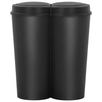 vidaXL Dvostruka kanta za smeće crna 50 L