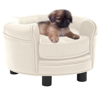 vidaXL Sofa za pse krem 48 x 48 x 32 cm od pliša i umjetne kože